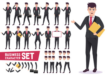 Business characters vector set with professional male office worker wearing corporate black suit and have  pose and gestures for presentation in white background. Vector illustration.