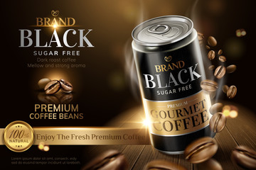 Premium black canned coffee ads