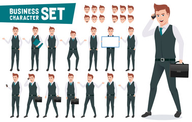Business characters vector set with businessman wearing office attire talking on phone and have different posture and gesture for presentation. Vector illustration.