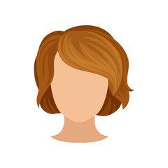 Woman s head with trendy hairstyle. Short brown hair. Fashionable female haircut with bang. Flat vector icon