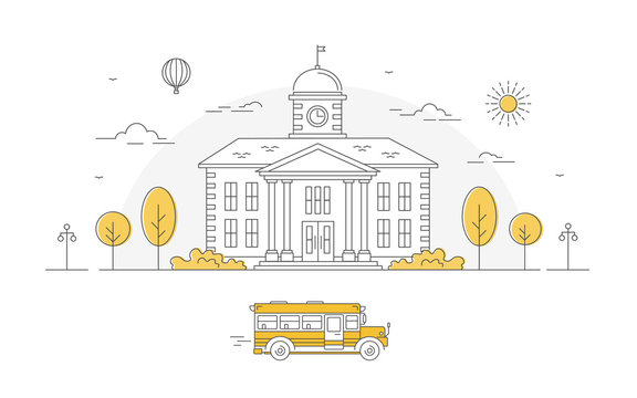 Back to school. Building with trees and yellow bus. Linear vector illustration. Poster and banner on American education