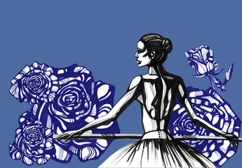 Awesome Ballerina and roses. Hand drawn ink illustration. Artist creative painting background