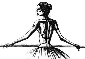 Ballerina. Hand drawn ink illustration. Artist creative painting background