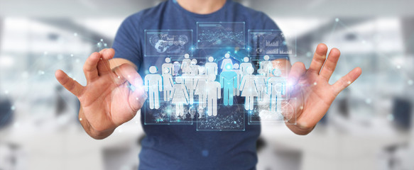 Businessman holding group of people 3D rendering