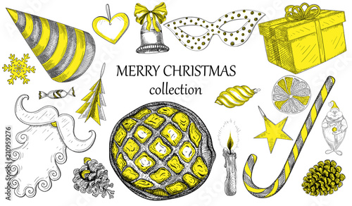 Yellow Merry Christmas Symbols Collection Isolated On White Stock