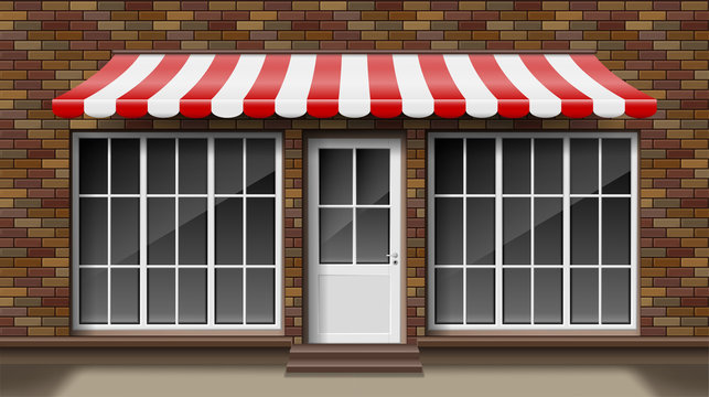 Brick small 3d store front facade Template with awning. Exterior empty shop or boutique with big window. Blank mockup of stylish realistic street shop. Vector illustration