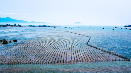 Fish farm off the coast of the South China sea in Vietnam