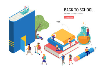 Back to school, books, education and research concept. College and university scene