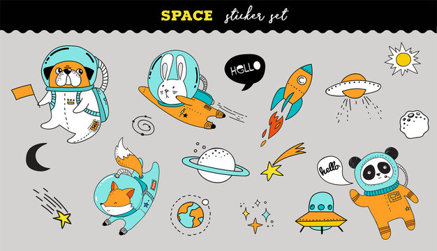Outer Space sticker collection. Cute animals illustrations