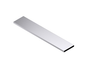 Metal flat bar. Isolated on white background. 3D rendering illustration.
