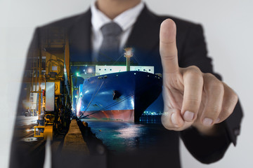 Double exposure of Business man is commanding shipping logistics concept.