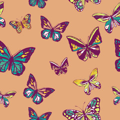 Infinite pattern of butterflies or insects or butterflies of insects.