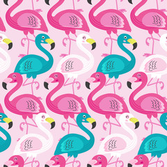 seamless pattern with beautiful flamingo  - vector illustration, eps
