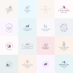 Sixteen Abstract Feminine Vector Signs or Logo Templates Set. Retro Floral Illustration with Classy Typography, Birds, Lamb, Duck, Hound, Unicorn and Elephant. Premium Quality Emblems.