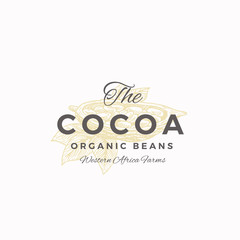 The Cocoa Organic Beans Abstract Vector Sign, Symbol or Logo Template. Elegant Cacao Bean Half Sillhouette with Leaves and Retro Typography. Vintage Luxury Emblem.