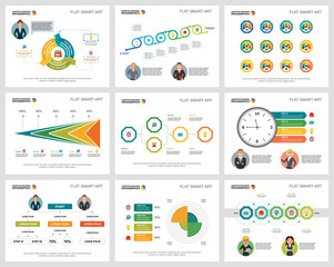 Colorful business planning infographic charts set. Business design elements for presentation slide templates. Management concept can be used for annual report, flyer layout and banner design.
