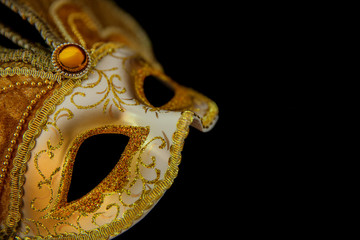 Close up gold mask