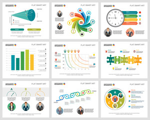 Colorful insurance or marketing concept infographic charts set. Business design elements for presentation slide templates. For corporate report, advertising, leaflet layout and poster design.