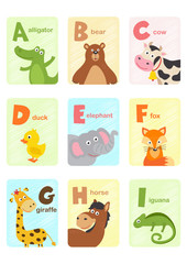 alphabet card with animals A to I  - vector illustration, eps