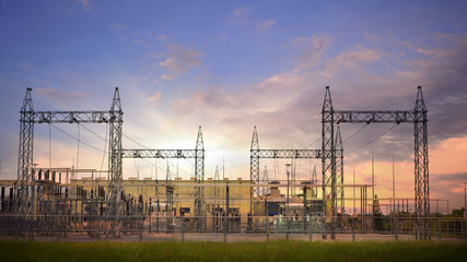 Thermal power plant, Green energy concept ,Power plant of electricity