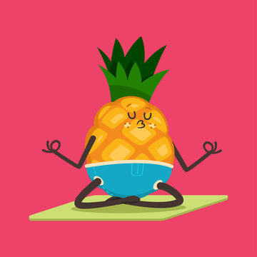 Cute Pineapple doing yoga exercise. Funny vector cartoon fruit character in lotus pose isolated on a background. Eating healthy and fitness.