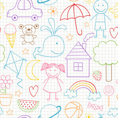 seamless pattern with kids drawings - vector illustration, eps