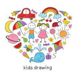 colored kids drawings in form of heart - vector illustration, eps