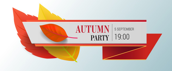 Autumn party lettering with bright leaves. Autumn offer or sale advertising design. Typed text, calligraphy. For leaflets, brochures, invitations, posters or banners.