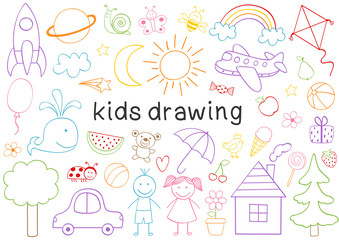 set of isolated kids drawing  - vector illustration, eps