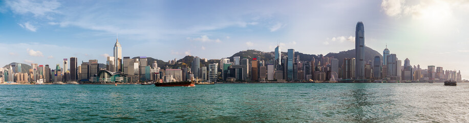Printed roller blinds Hong-Kong Panoramablick auf Hong Kong, die Skyline von Victoria Harbour und dem Bezirk Central, bei Tag