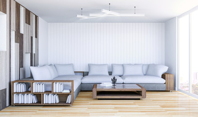 White contemporary living room interior with empty wall, 3D Rendering