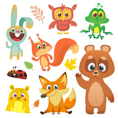 Forest animals set cartoon. Vector illustration. Big set of cartoon woodland animals illustration. Squirrel, owl,  bunny rabbit, frog, chipmunk, fox,  bear, ladybug. Isolated