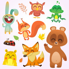 Cartoon woodland animals. Vector illustration. Big set of cartoon woodland animals illustration. Squirrel, owl,  bunny rabbit, frog, chipmunk, fox,  bear, ladybug. Isolated