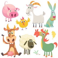 Cartoon farm animals set. Vector illustration. Cow, horse, chicken, bunny rabbit, pig, goat and sheep