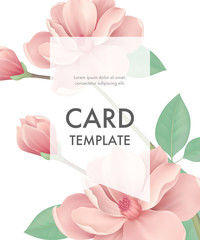 Greeting card template with pink flowers and transparent frame on white background. Wedding, Mothers Day, dating. Event concept. Can be used for invitation, greeting card, brochure
