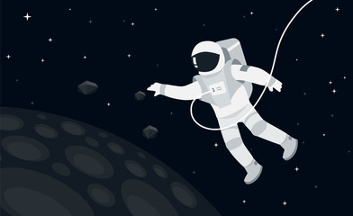 Astronaut in outer space concept vector illustration in flat style