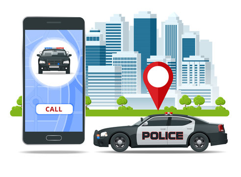 Call police app on smartphone screen. Emergency call use by smartphone. Sos mobile concept for web banner, web site, infographics, vector illustration