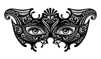 Black silhouette of a decorative carnival Venetian mask with female eyes isolated on white