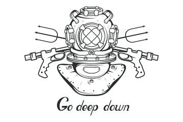 Diving. Scuba diving logo. Diver mask. Scuba-diving helmet. Vector graphics to design.