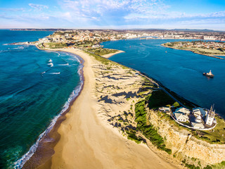Nobbys Beach and Lighthouse Aerial, Newcastle, Australia