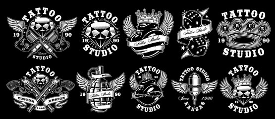 Set of custom tattoo designs.