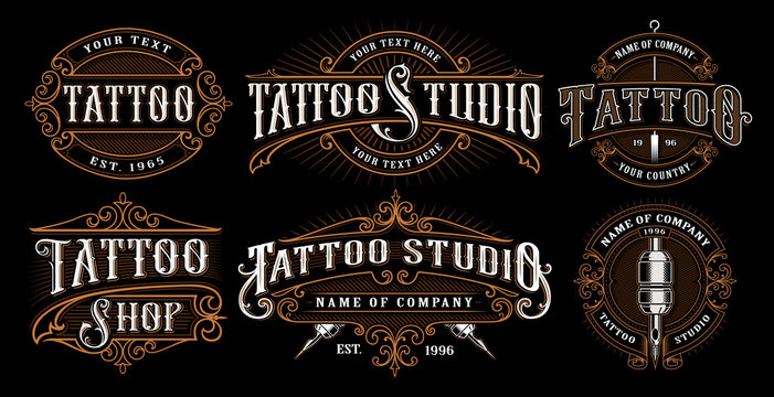 Set of vintage tattoo emblems (VERSION FOR DARK BACKGROUND)