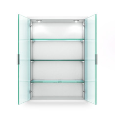 Open cupboard with empty glass shelves. 3d illustration