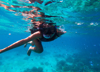 Young Woman Snorkelling in Cebu, Phillipines