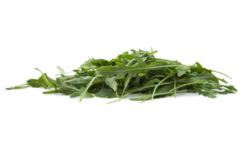 Fresh arugula salad isolated on white background. Top view. Fresh arugula leaves with copy space for text. Ruccola leaf isolated on white