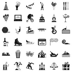Lunapark icons set. Simple style of 36 lunapark vector icons for web isolated on white background