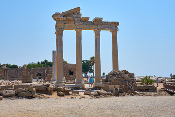 Temple of Apollo in Side, Antalya, Turkey. Peripter.