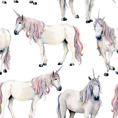 Watercolor unicorn pattern. Hand painted fairy tale horses isolated on white background. Magic wallpaper for print, fabric or design.