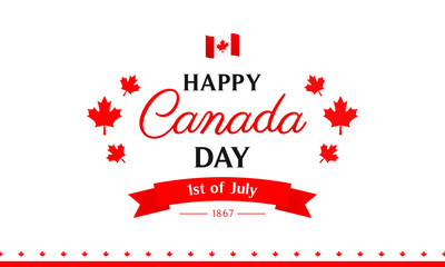 Canada Day Banner Vector illustration, 150 Years anniversary with flag of Canada.