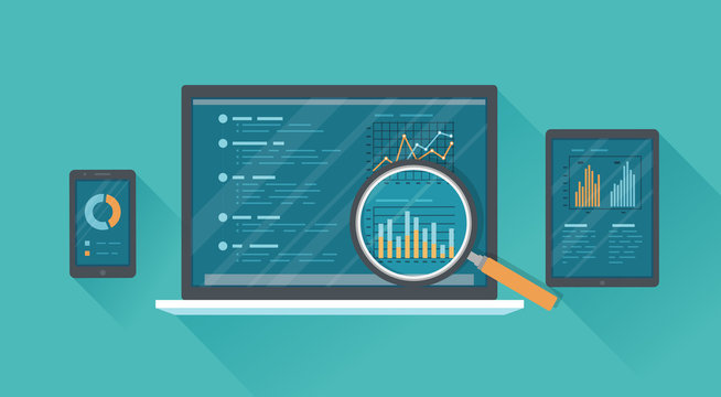 Online audit, research, analysis concept. Web and mobile service. Financial reports, charts graphs on screens of a laptop, phone, tablet with a long shadow. Business background banner. Vector